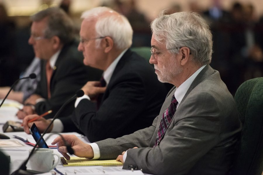 President-elect Timothy L. Killeen takes notes during the board of trustees meeting at the Illini Union on March 12, 2015.