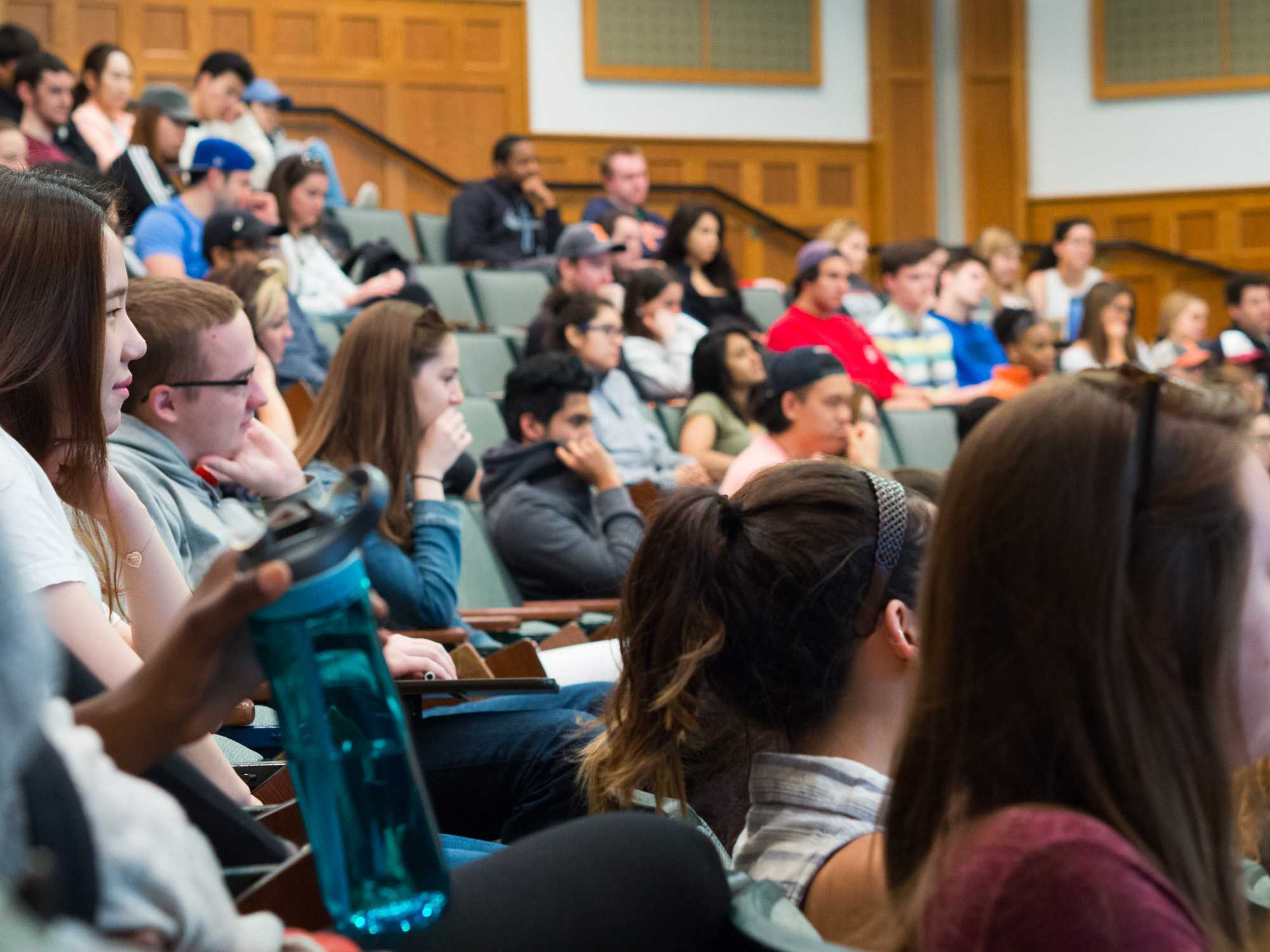 Students are engaged in Professor Lena Hann's last lecture at UIUC. Tuesday, May 3.