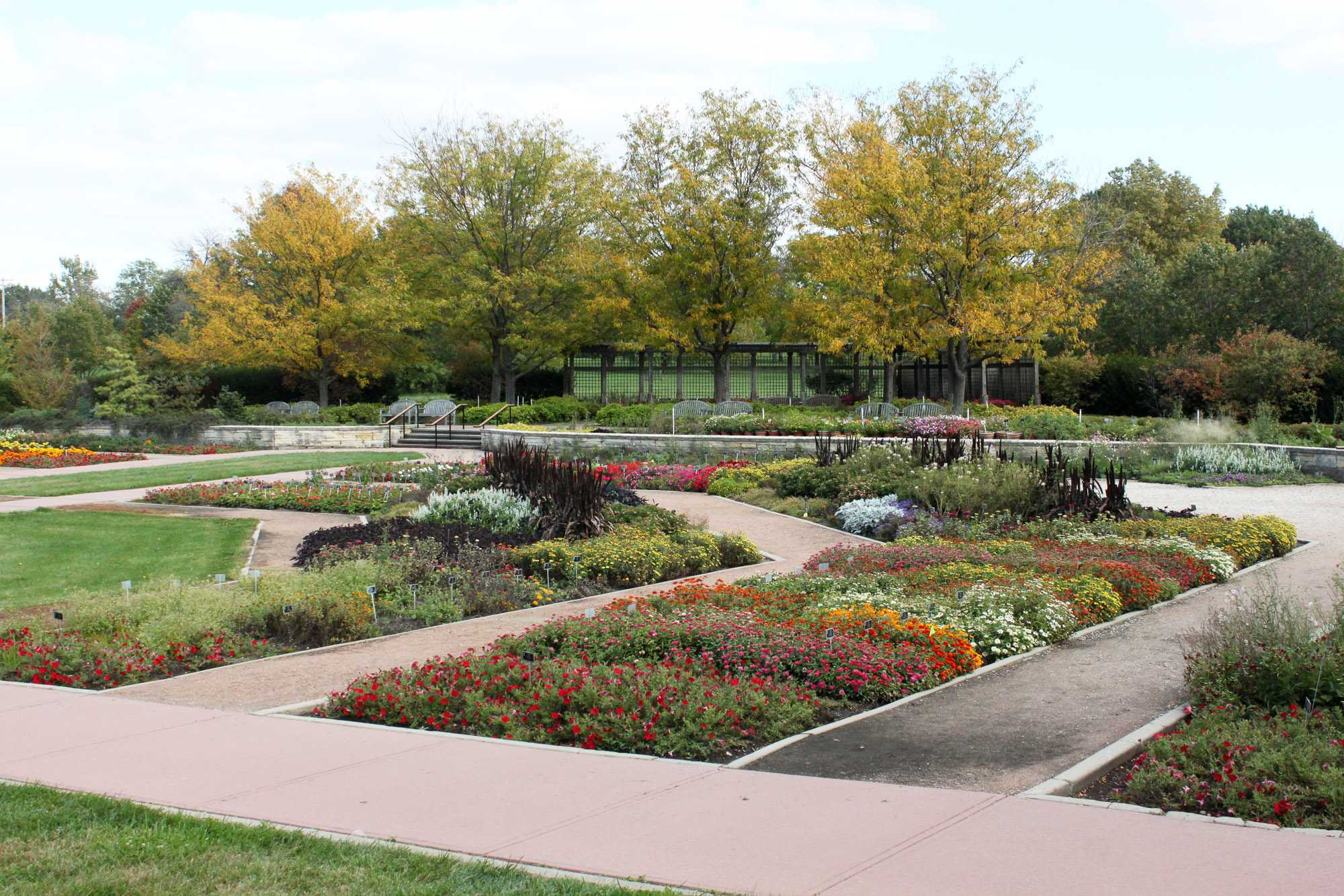 The Miles C. Hartley garden at the Arboretum is the largest of 5 major gardens. The rest of the Arboretum's 160 acres contains several open fields and a number of tree-lined paths.
