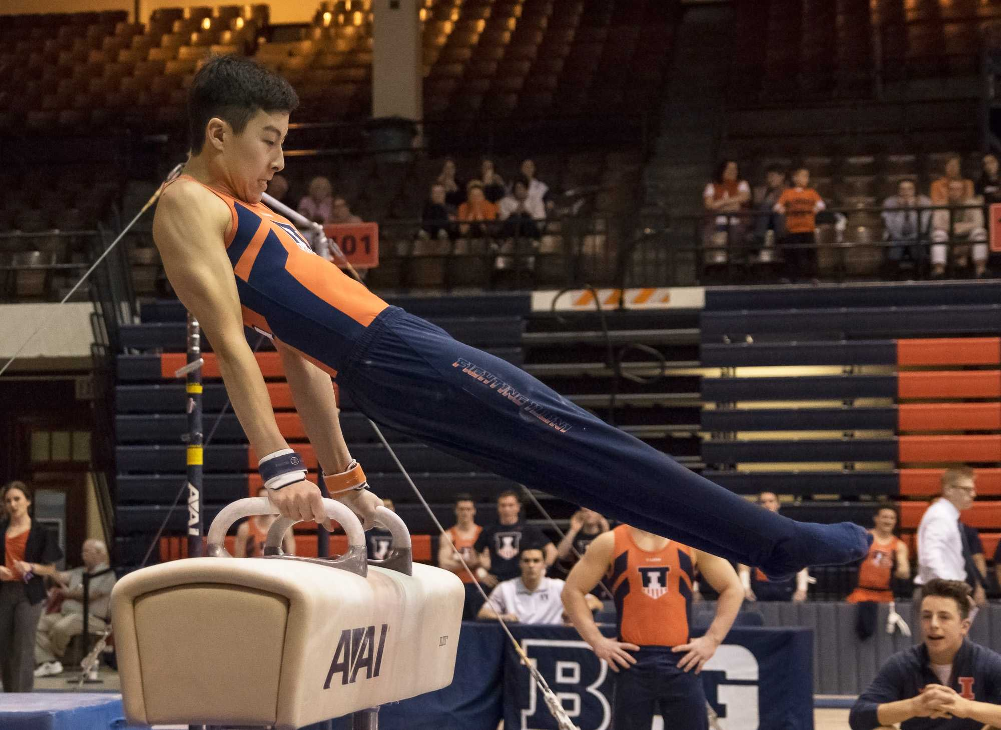 Illinois' Brandon Ngai performs his routine on the pommel horse at the meet against Michigan on March 12, 2016.