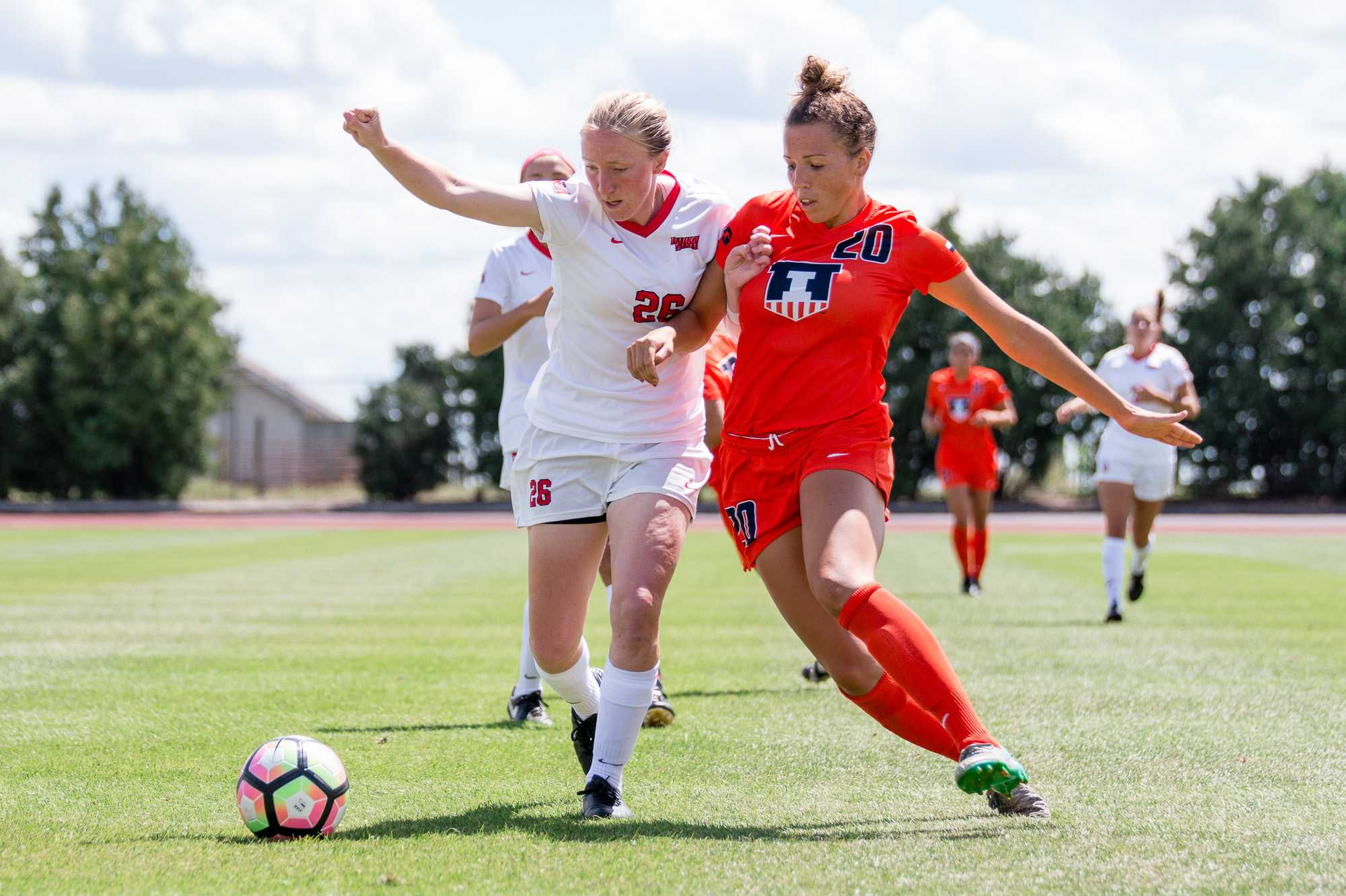 Illinois' Kara Marbury fights for possession of the ball during the game against Illinois State at Illnois Soccer Stadium on Sunday, August 21. The Illini won 1-0.