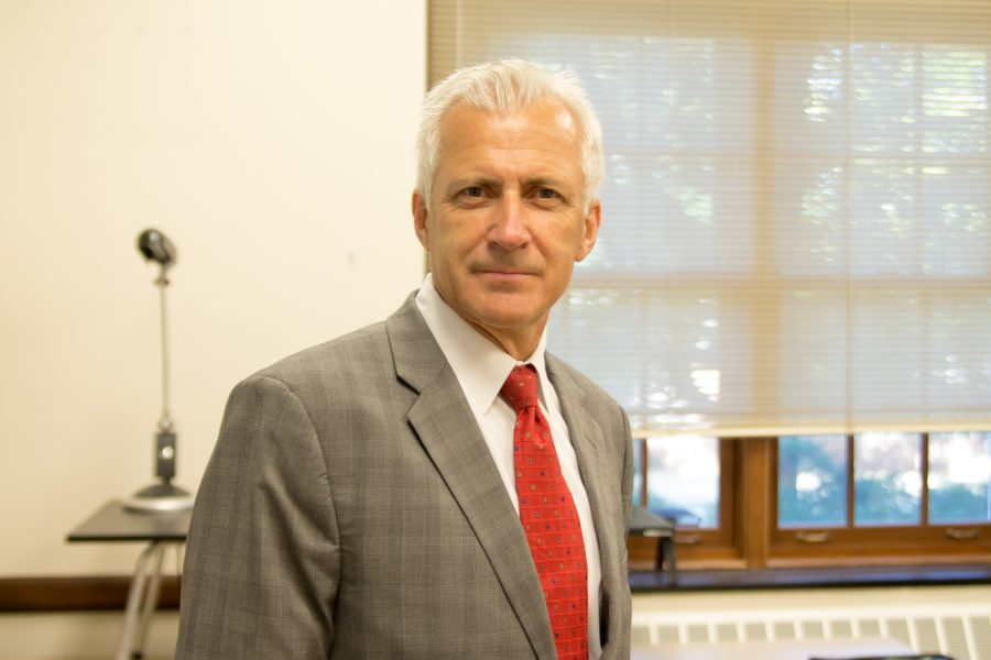New Interim Dean for the College of Media, Professor Wojtek Chodzko-Zajko, stands in his office on June 5, 2016.