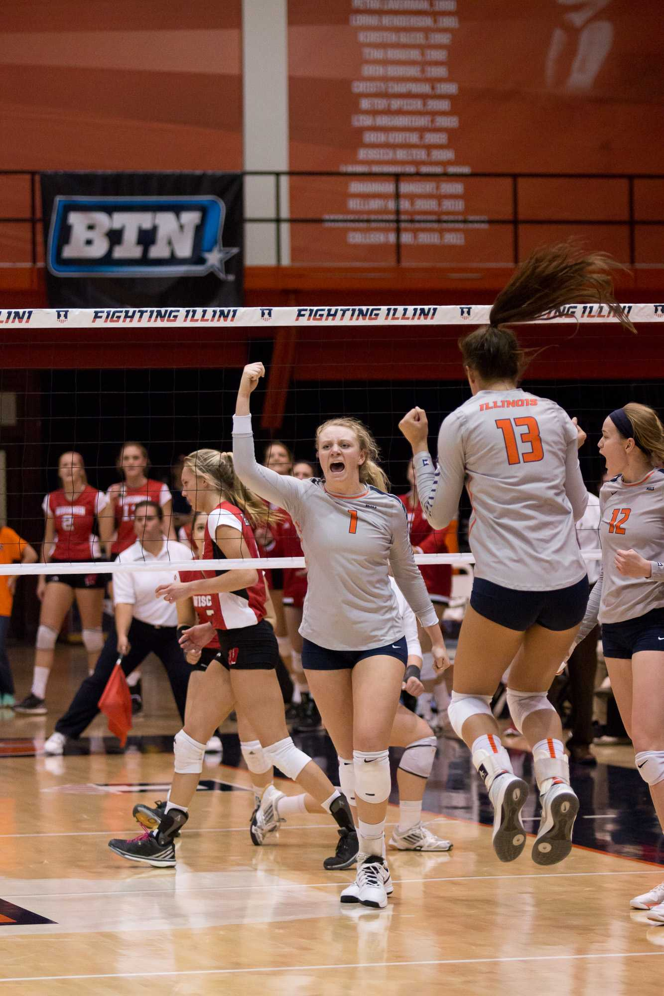 Illinois' Jordan Poulter celebrates after a kill during the match against Wisconsin at Huff Hall on Wednesday, Nov. 18, 2015. Illinois lost 3-2.
