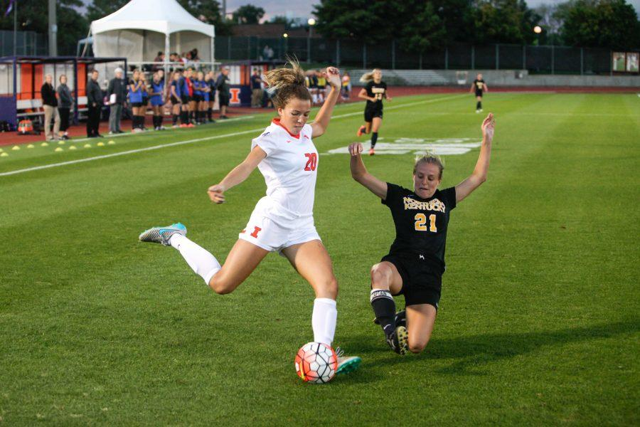 Kara Marbury takes a shot during the game against Northern Kentucky at Illinois Soccer and Track Stadium on Friday, Sept. 11. Illinois won 1-0.