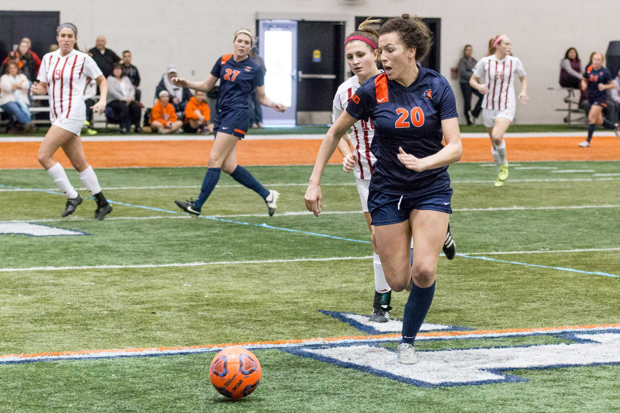 Illinois' Kara Marbury runs for the ball during the game against Indiana in the annual 7 vs. 7 tournament at the Irwin Indoor Facility on February 27, 2016. The Illini won this game 4-0.