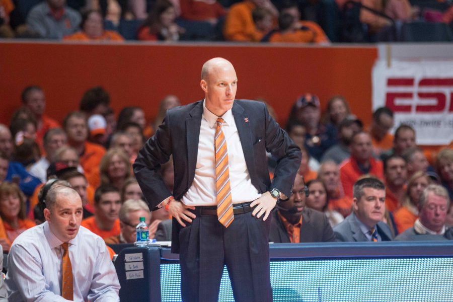 Illinois head coach John Groce watches his team from the sideline during Illinois' 78-68 loss to Michigan at State Farm Center on Wednesday, December 30.