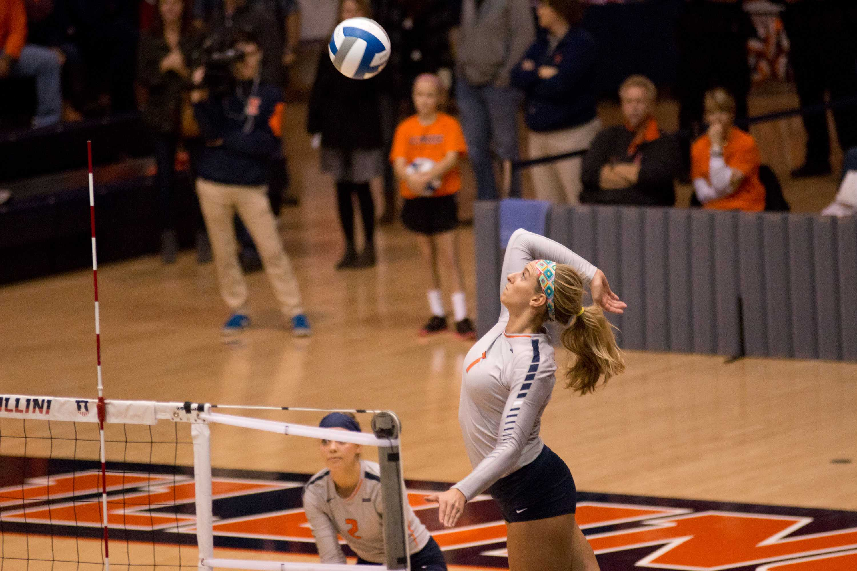 Former Illinois Jocelynn Birks gets ready to spikes the ball during the match against Wisconsin at Huff Hall on Wednesday, Nov. 18, 2015.