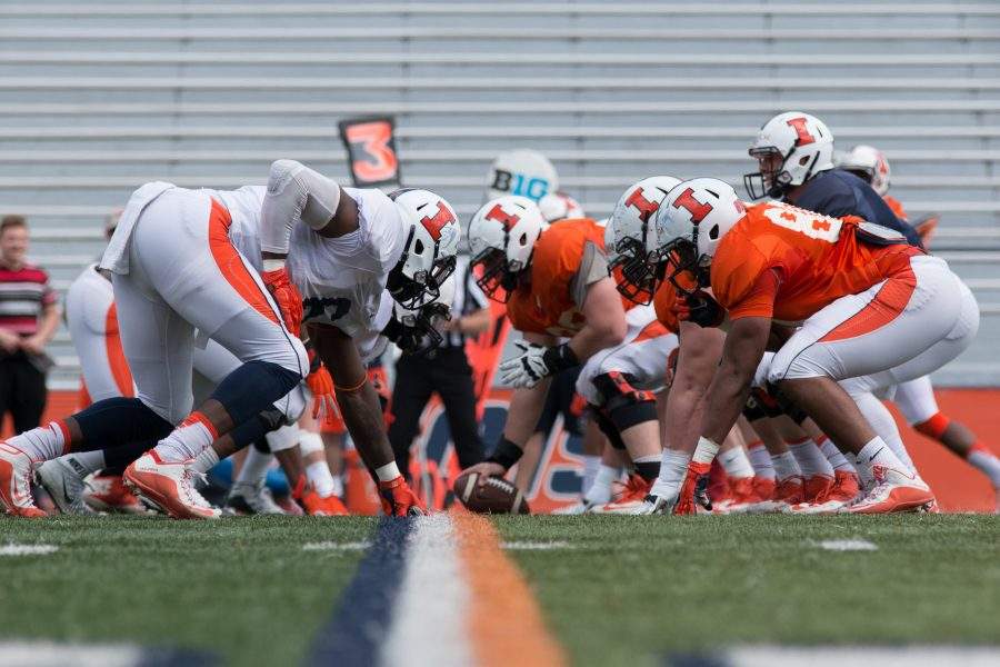 Illinois Football practices for the upcoming season at Memorial Stadium on April 16.