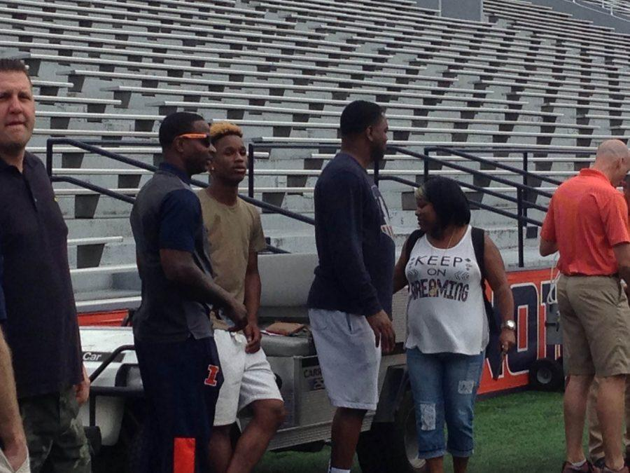 Illinois basketball commit Trent Frazier attended football practice at Memorial Stadium on Saturday.