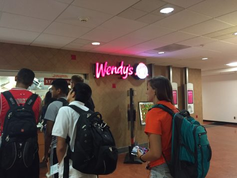 Customers wait in line for Wendy's in the Illini Union basement.