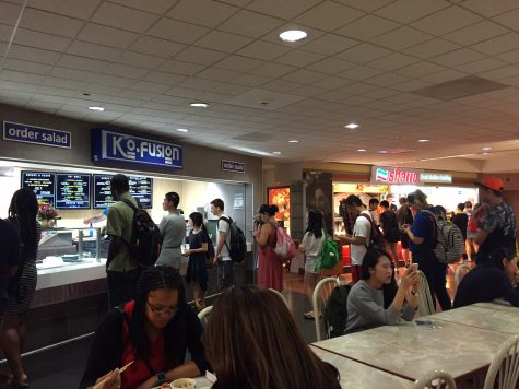 Customers wait in line at the new Kofusion in the Illini Union basement.