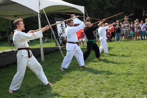 Kabudo Martial Arts gives a perfomance exhibiting various traditional weapons at Matsuri Festival at the Japan House on Sunday, Aug. 28