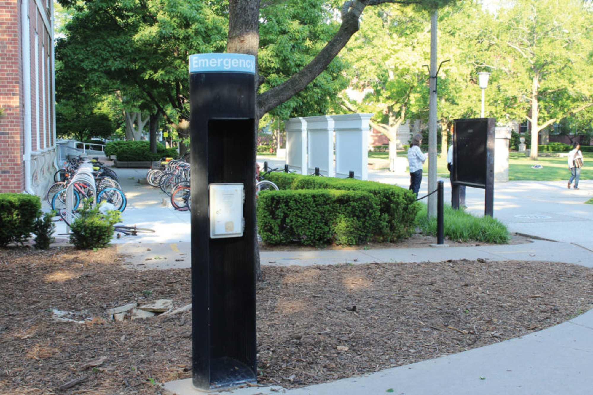 An emergency pole seen on the quad.