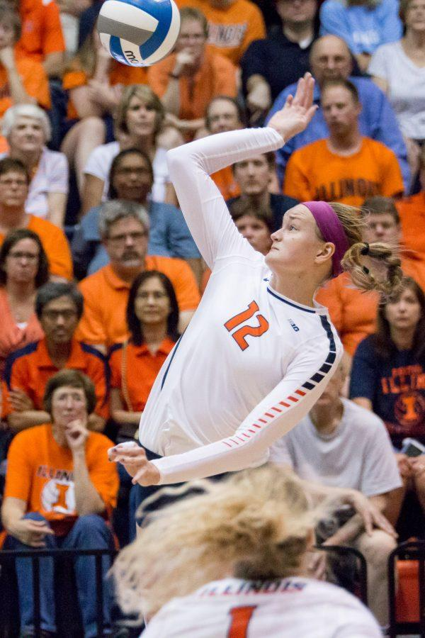 Illinois%27+Katie+Stadick+gets+ready+to+hit+the+ball+over+the+net+during+the+match+against+Arkansas+at+Huff+Hall+on+Friday%2C+August+26.+The+Illini+won+3-0.