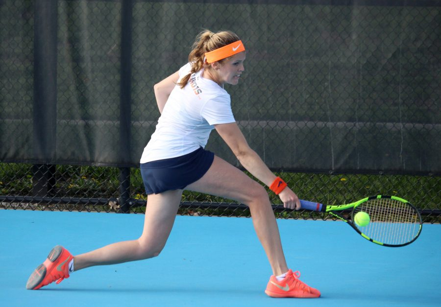 Illinois' Jaclyn Switkes returns the ball in the match against Michigan State at the Atkins Tennis Center on April 22.