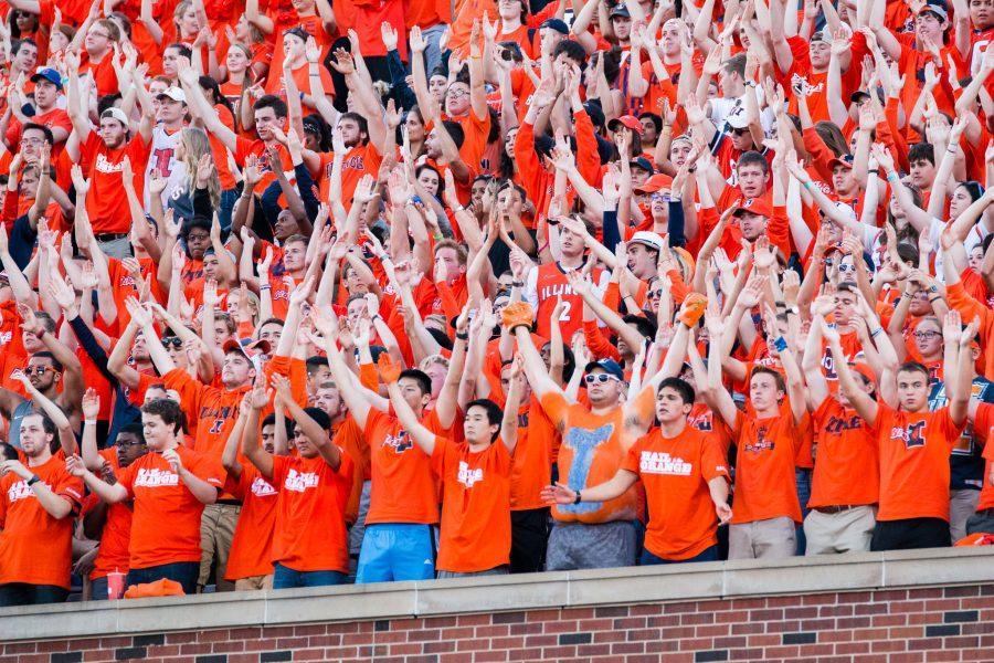 Students+in+the+Block+I+student+section+cheer+on+the+Illini+during+the+game+against+North+Carolina+at+Memorial+Stadium+on+Saturday%2C+September+10.