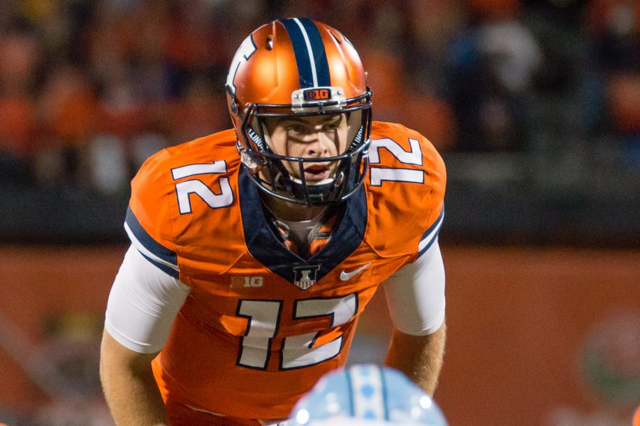 Illinois quarterback Wes Lunt calls for the snap during the game against North Carolina at Memorial Stadium on Saturday, September 10. The Illini loss 48-23.