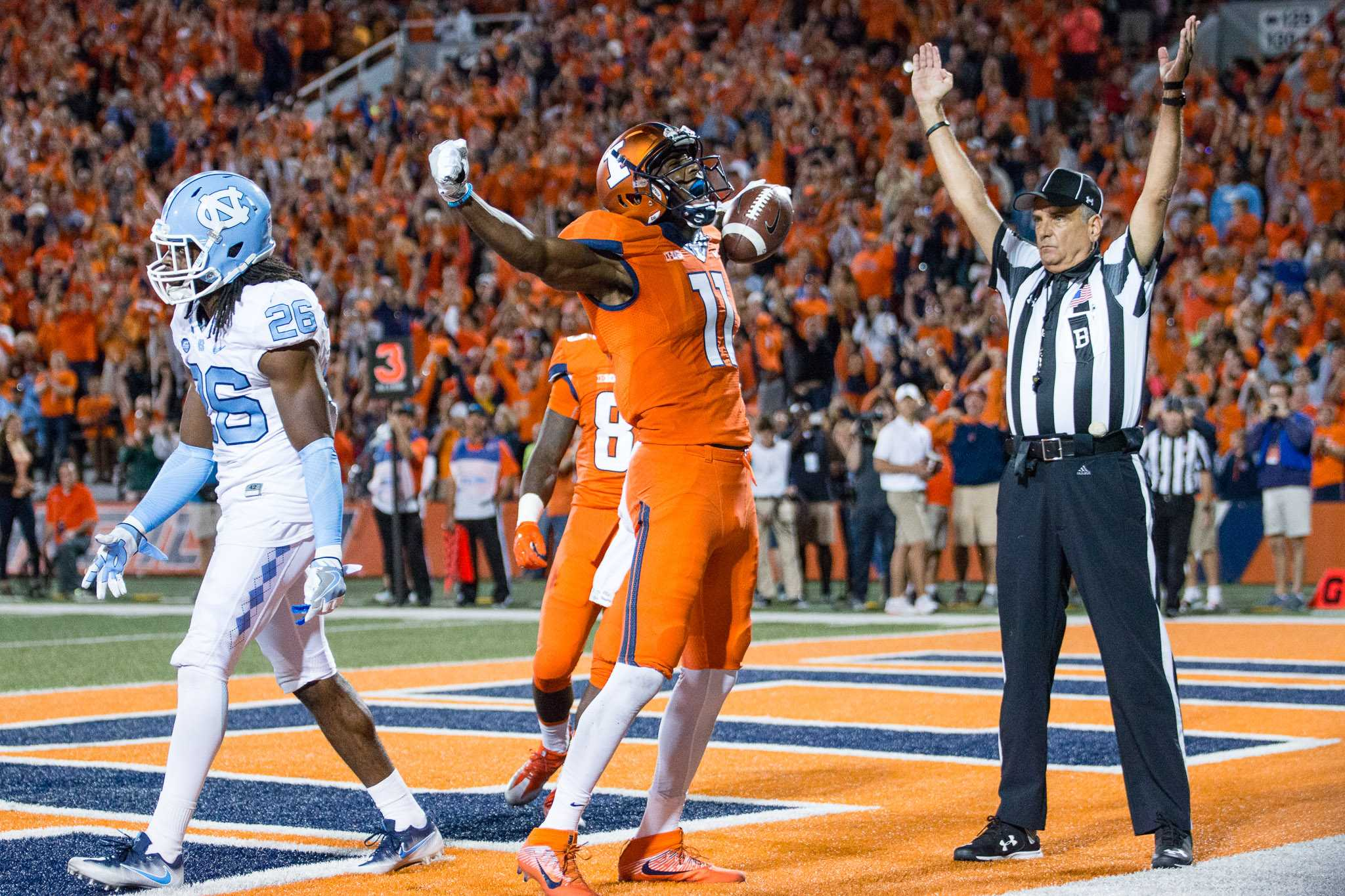 Illinois wide receiver Malik Turner(11) celebrates after scoring a touchdown during the game against North Carolina at Memorial Stadium on Saturday, September 10. The Illini loss 48-23.
