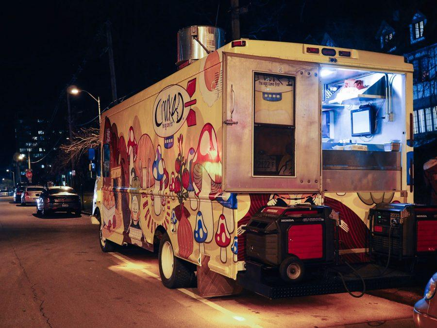 Cracked food truck outside of Joe's Brewery in Champaign, IL. March 31