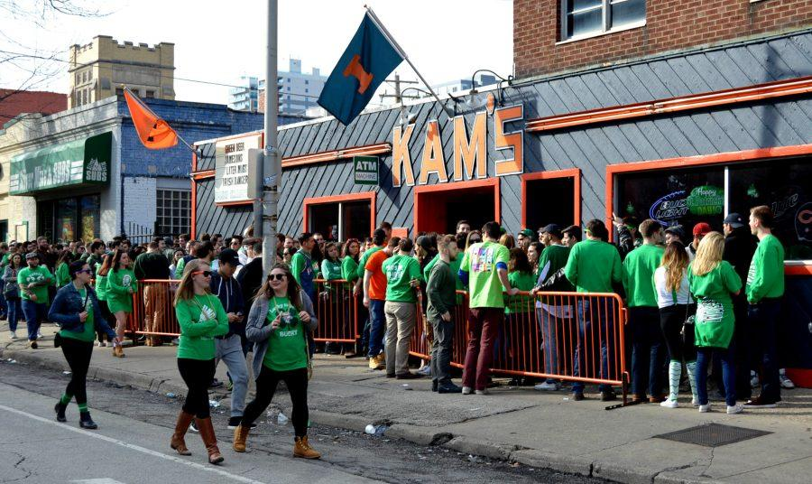 Students wait outside Kam's to celebrate Unofficial on March 4.