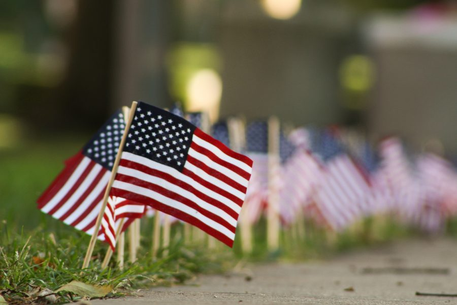 Flags sit along the Quad in observance of 9/11.