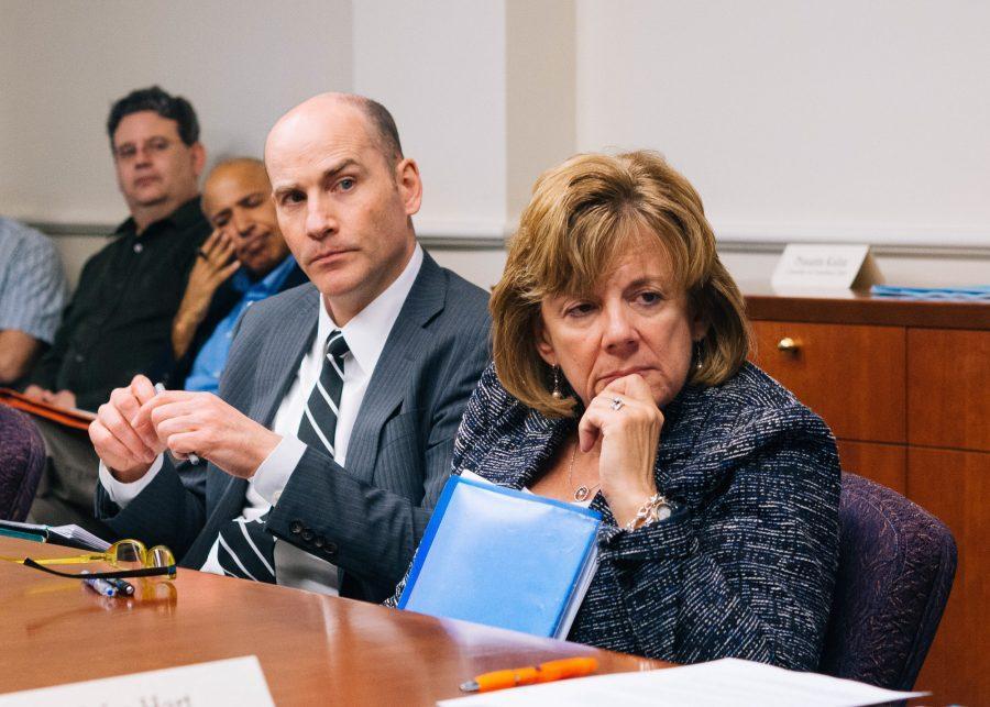 Interim+Vice+Chancellor+Edward+Feser+and+Interim+Chancellor+Barbara+Wilson+listen+during+the+SEC+meeting+in+Urbana%2C+IL+on+Monday%2C+April+25.