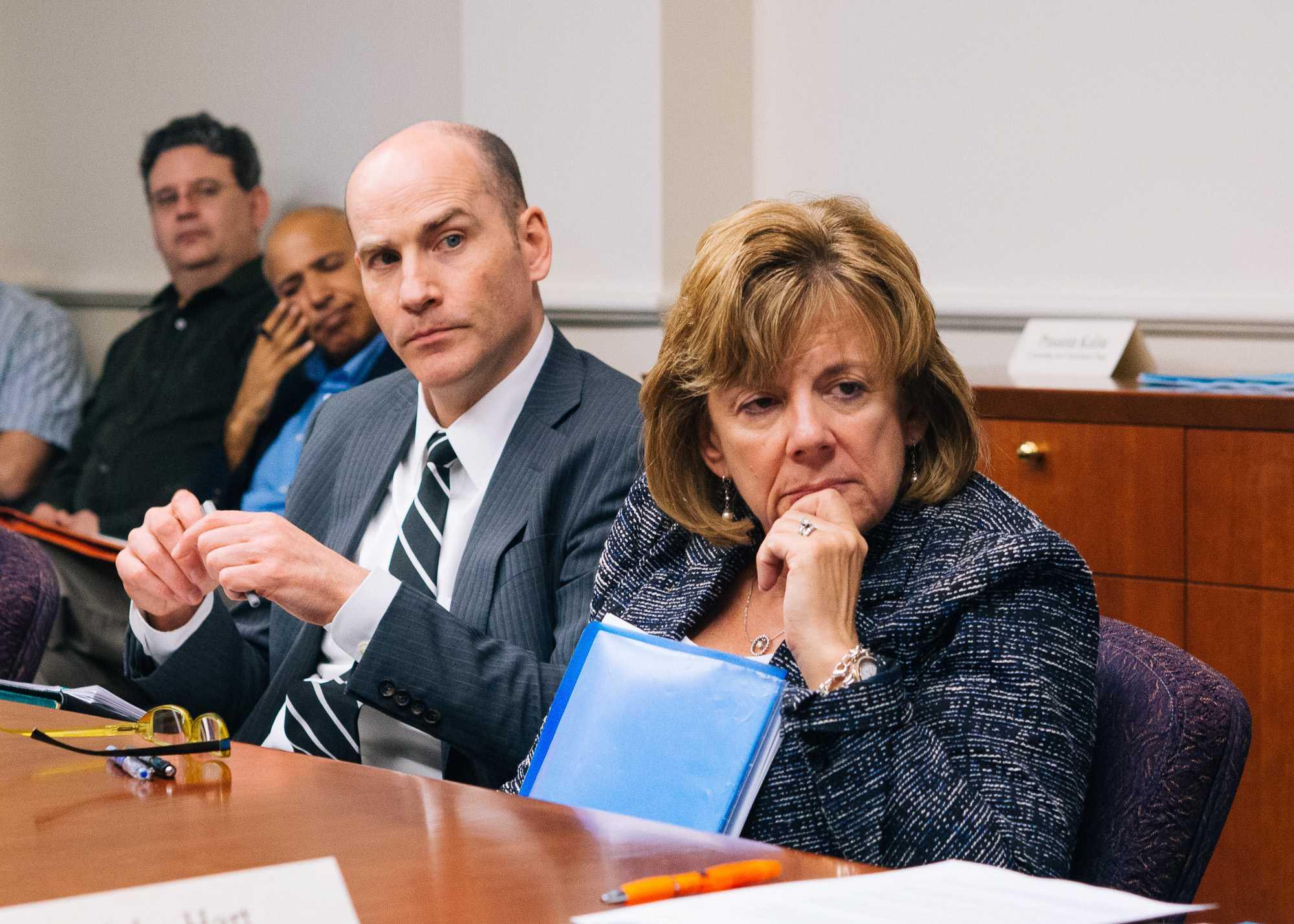 Interim Vice Chancellor Edward Feser and Interim Chancellor Barbara Wilson listen during the SEC meeting in Urbana, IL on Monday, April 25.