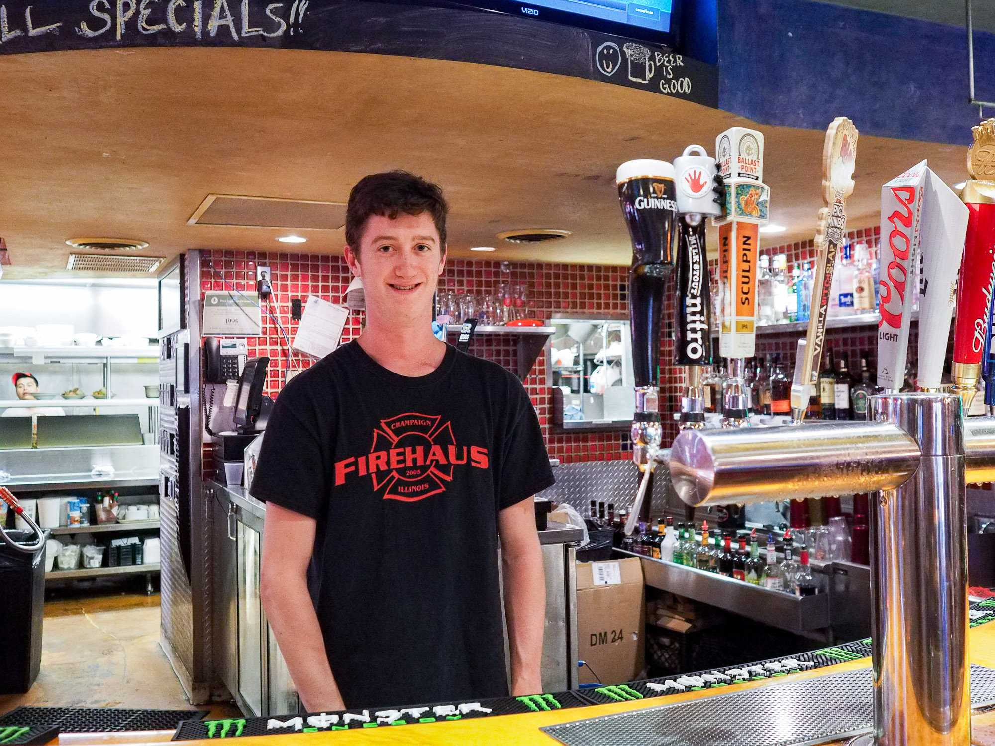 Eric Lotter (senior) a current bartender at Firehaus has been employed for three years. Champaign, IL. September 5, 2016.