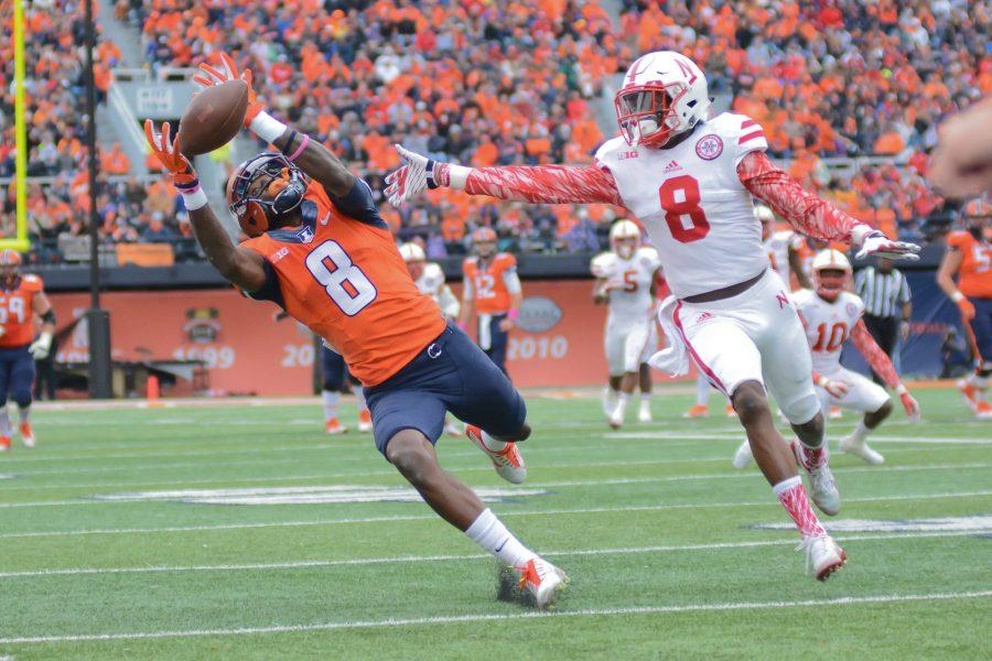 Illinois' Geronimo Allison attempts to catch the ball during the game against Nebraska at Memorial Stadium on Oct. 3, 2015.