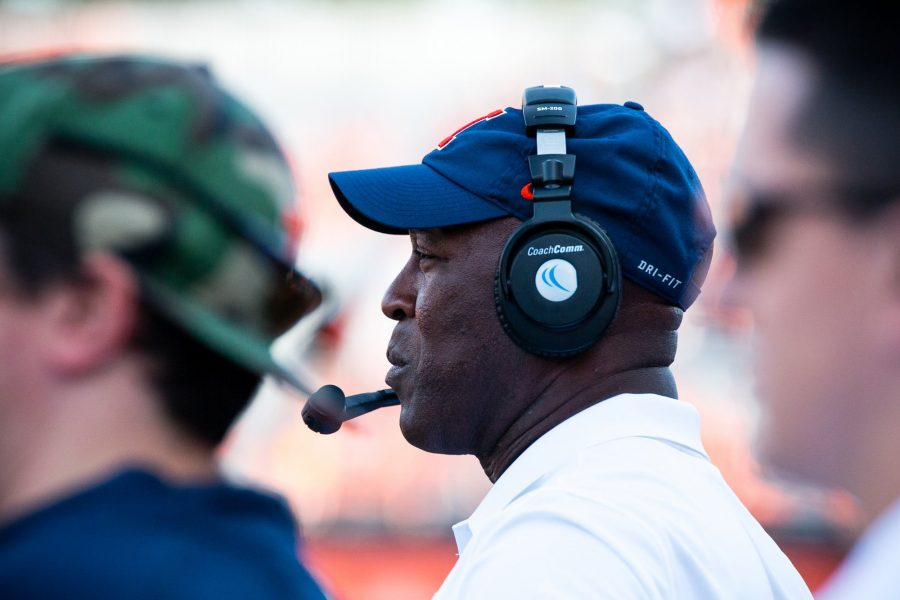 Lovie Smith watches over the players during the game against Murray State on Murray State at Memorial Stadium on Saturday, September 3. The Illini won 52-3.