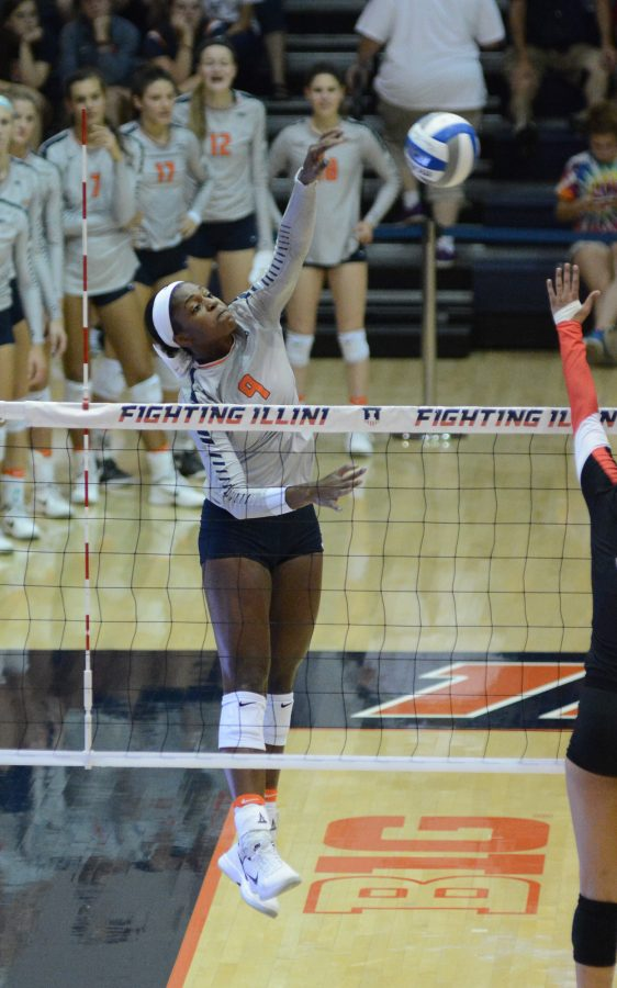 Illinois%27+Naya+Crittenden+attempts+to+spike+the+ball+during+the+match+against+Rutgers+at+Huff+Hall+on+September+24.+The+Illini+won+3-0.