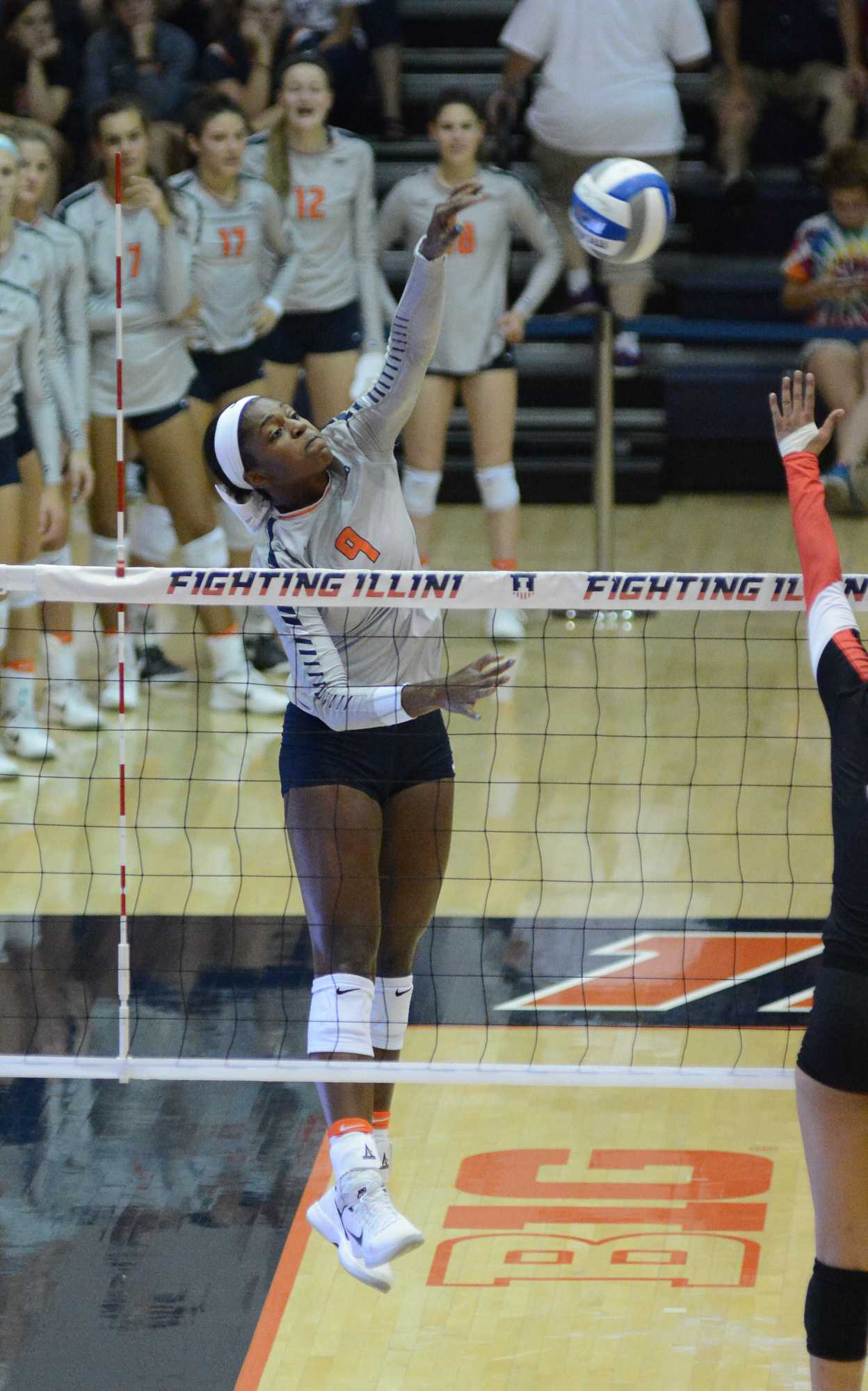 Illinois' Naya Crittenden attempts to spike the ball during the match against Rutgers at Huff Hall on September 24. The Illini won 3-0.