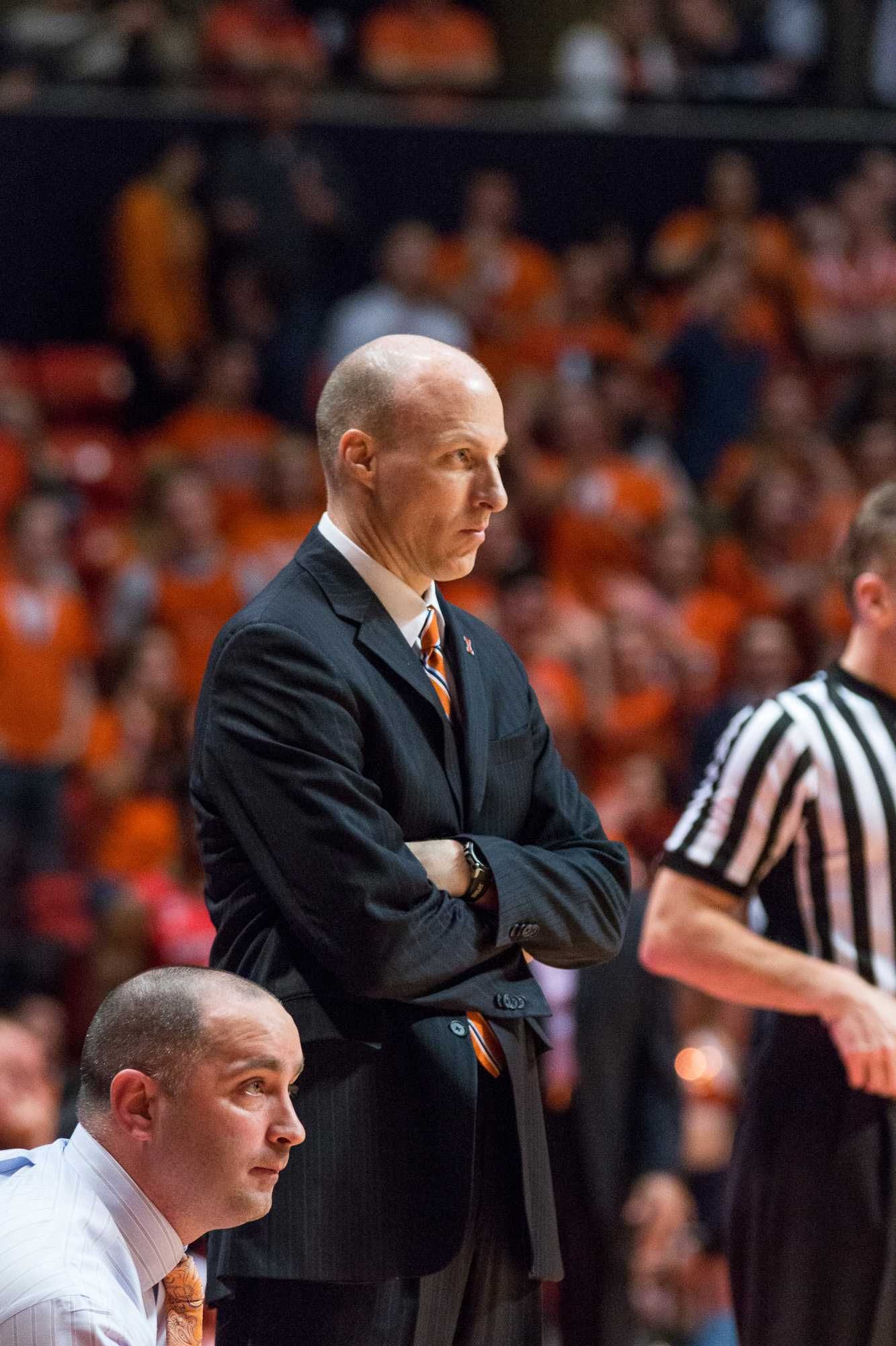 Illinois head coach John Groce watches his team from the sidelines during the game against Rutgers at the State Farm Center on February 17. The Illini won 82-66.