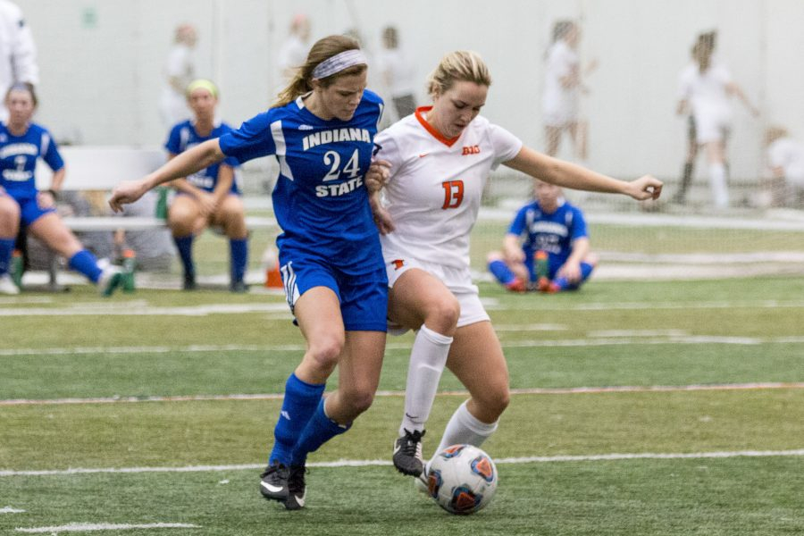 Illinois' Summer Schafer fights for possession of the ball during the game against Indiana State in the annual 7 vs. 7 tournament at the Irwin Indoor Facility on February 27. The Illini lost this game 8-3.