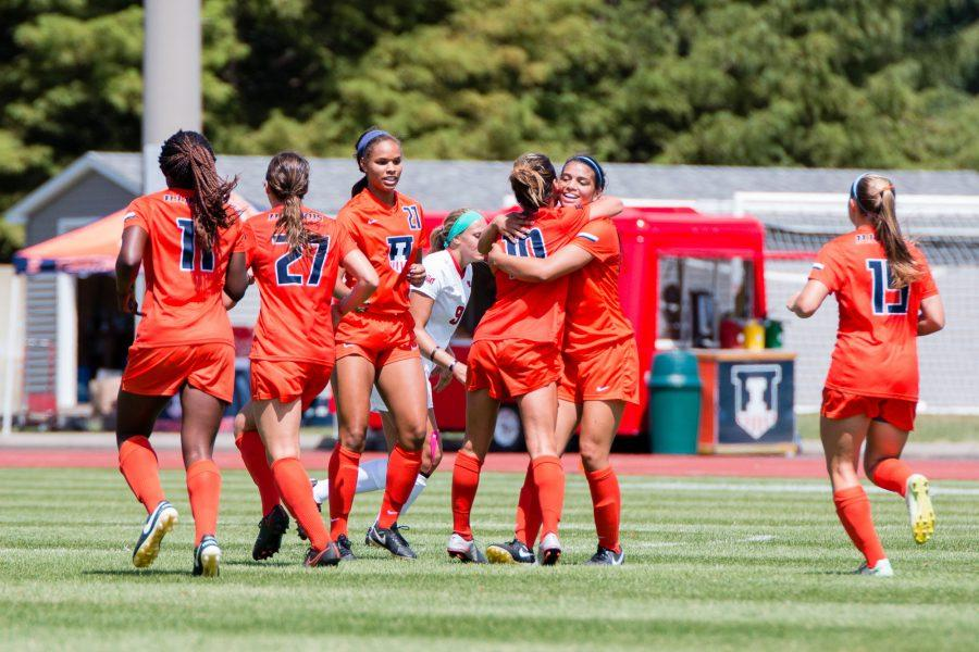 Illinois%27+Allison+Stucky+%2810%29+gets+a+hug+from+Alicia+Barker+after+scoring+the+only+goal+in+the+game+against+Illinois+State+at+Illnois+Soccer+Stadium+on+Sunday%2C+August+21.+The+Illini+won+1-0.