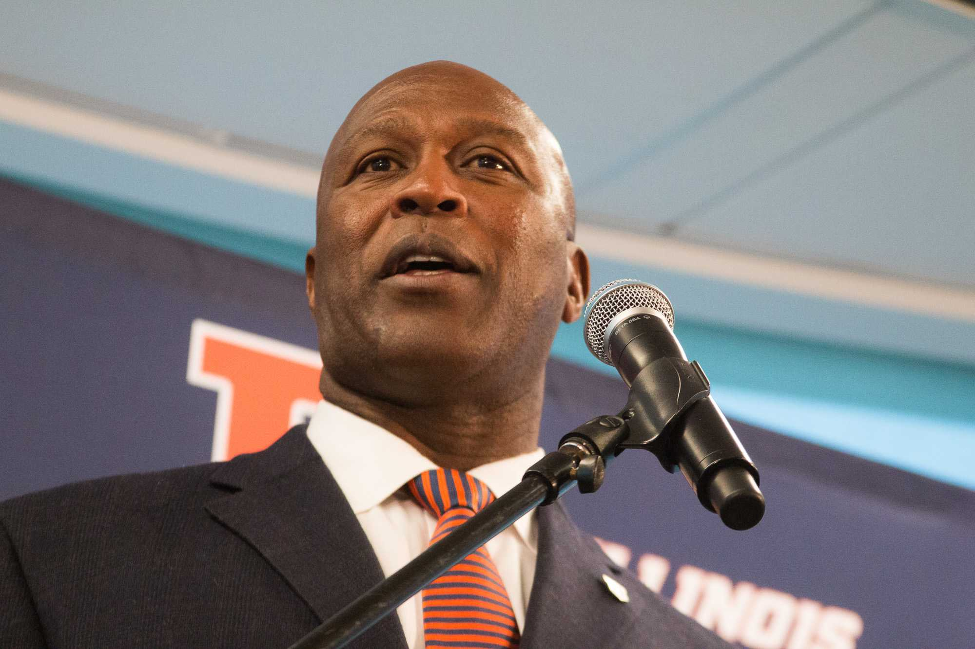 Lovie Smith responds to questions at his press conference on Monday, March 7, 2016.