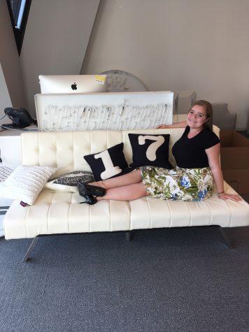 Barkley celebrates the last day of her internship in the Seventeen magazine office.