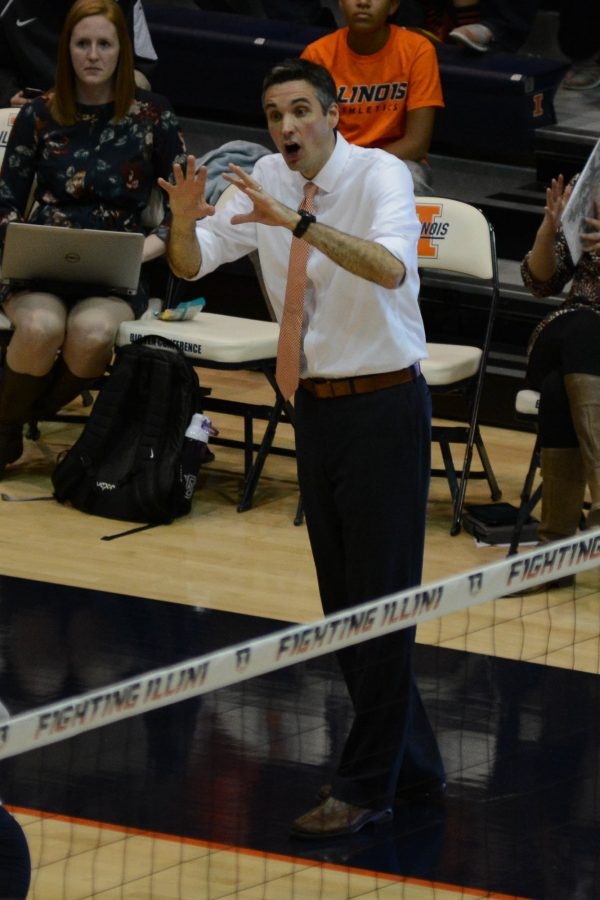 Illinois' headcoach Kevin Hambly on the sidelines during the match against Northwestern at Huff Hall on Saturday, Nov. 7, 2015. Illinois won 3-1.