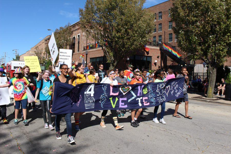 Champaign+Unit+4+School+District+promote+a+message+of+love+and+acceptance+in+the+CU+Pride+Parade.