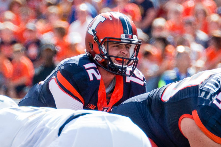 Illinois+quarterback+Wes+Lunt+%2812%29+calls+for+the+snap+during+the+game+against+Murray+State+at+Memorial+Stadium+on+Saturday%2C+September+3.+The+Illini+won+52-3.