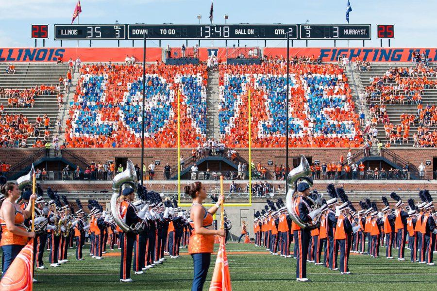 The+Block+I+student+section+holds+up+cards+spelling+Lovie+while+the+band+performs+at+halftime+of+the+football+game+against+Murrary+State+on+Saturday%2C+Sept.+3.+
