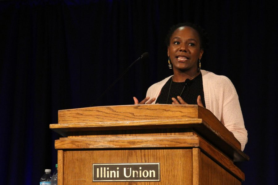 Bree Newsome talks at the Illini Union on Tuesday. Newsome spoke about her experience tearing down the Confederate flag from the North Carolina State House.
