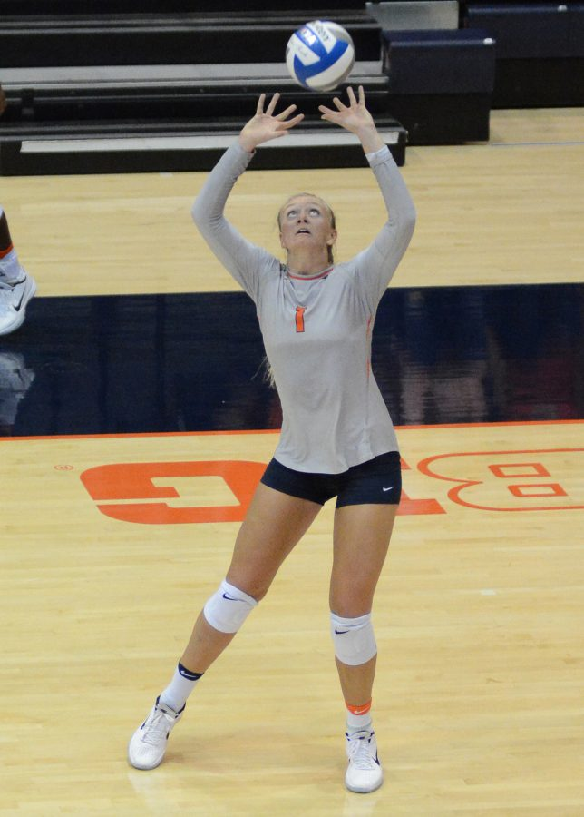 Illinois' Jordyn Poulter attempts to set the ball during the match against Rutgers at Huff Hall on September 24. The Illini won 3-0.