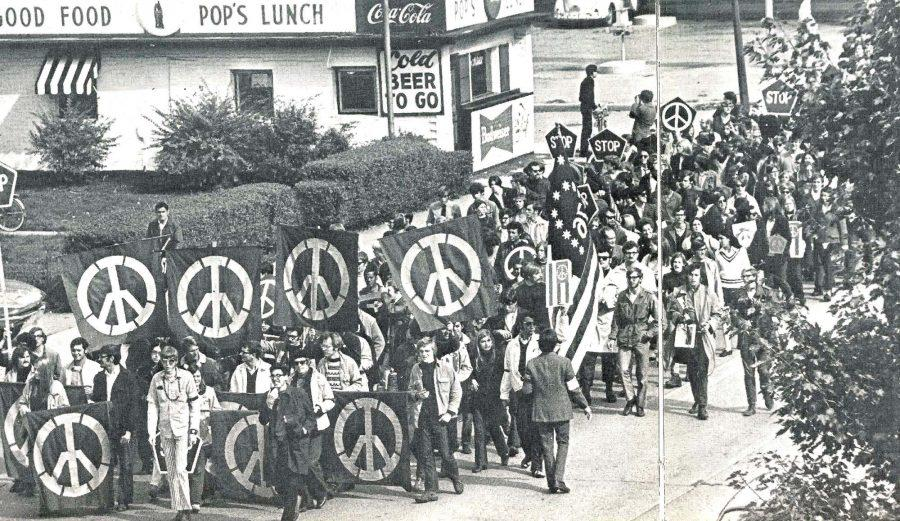 Students protest the Vietnam War with hopes and aspirations for world peace on October 15, 1969.