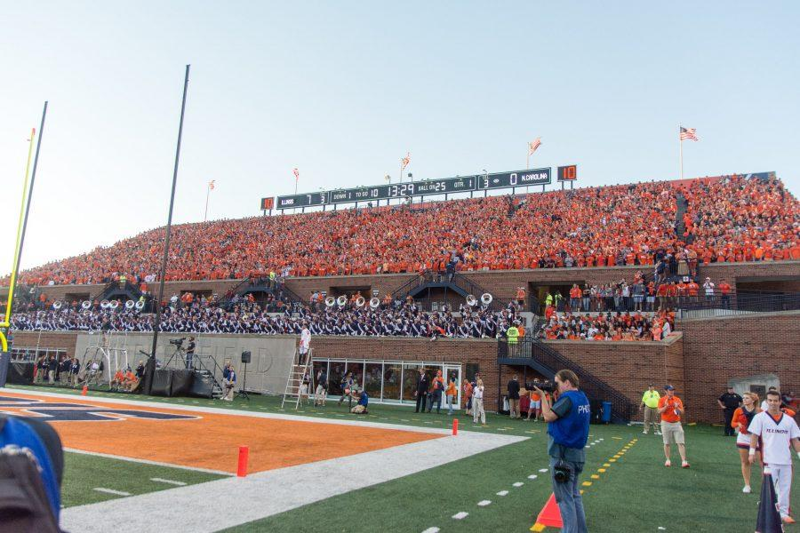 Students+fill+up+the+Block+I+student+section+during+the+game+against+North+Carolina+at+Memorial+Stadium+on+Saturday%2C+September+10.+The+Illini+loss+48-23.