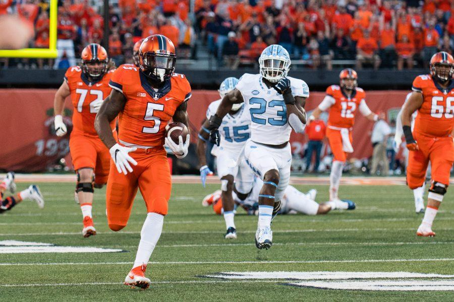 Illinois running back Ke'Shawn Vaughn runs down the sideline for the first touchdown of the game against North Carolina at Memorial Stadium on Saturday, September 10. The Illini loss 48-23.