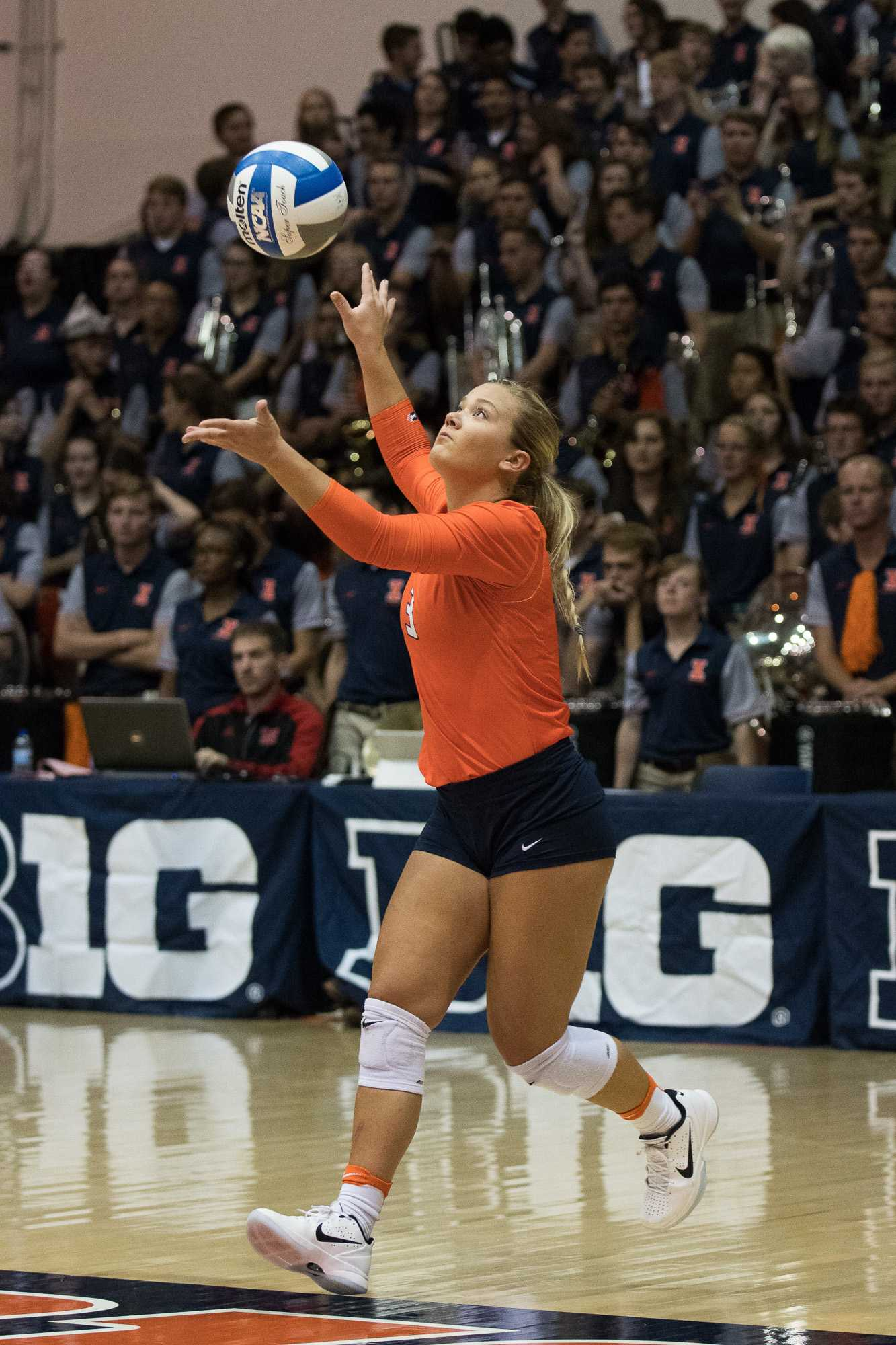 Illinois' Brandi Donnelly serves the ball during the game against Nebraska on Sept. 16.  The Illini lost 0-3.