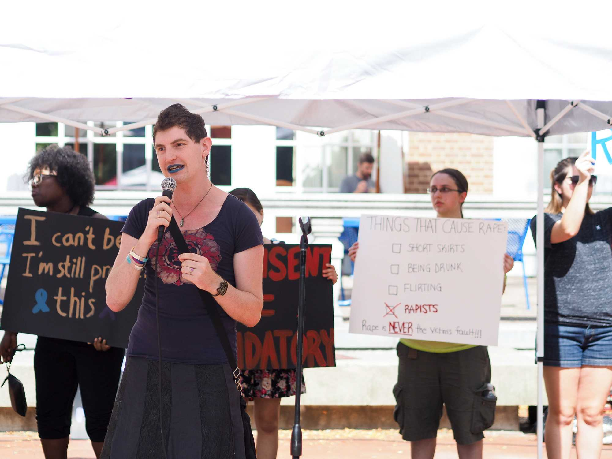 Stephanie Skora speaks out against Rape Culture at the Rally behind the Illini Union. September 23, 2016.