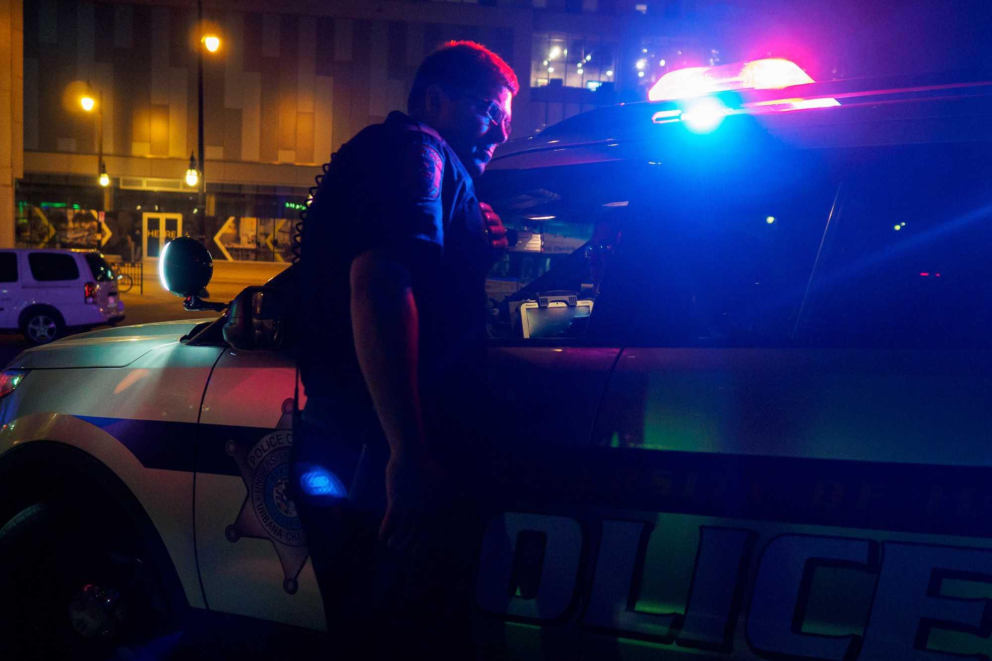 The University of Illinois police on campus.