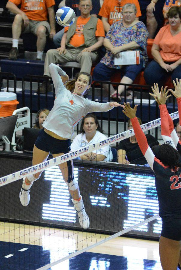 Illinois' Michelle Strizak  attempts to spike the ball during the match against Rutgers at Huff Hall on September 24. The Illini won 3-0.